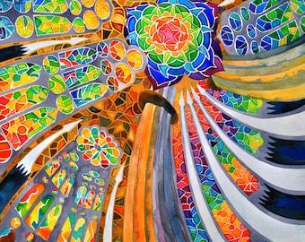 Sagrada Familia (Barcelona Spain Travel Rainbow Trippy Spiritual Mandala Stained Glass Antonio Guadi Architecture Watercolor Painting)