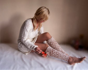 Cream Lace high leg warmers crochet lacy knee sleepers crochet boot socks tight high