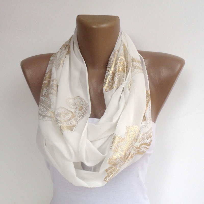 White Scarf In Gold Pattern Wedding Scarf Women Summer Spring
