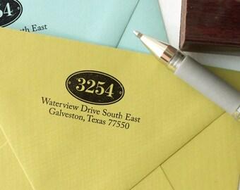 Custom return address stamp HOUSE NUMBER DESIGN with wood handle - wood handle address stamp