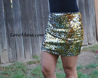 Small only! Silver/Gold Stretchy Sequin Bodycon Pencil Skirt - Great quality