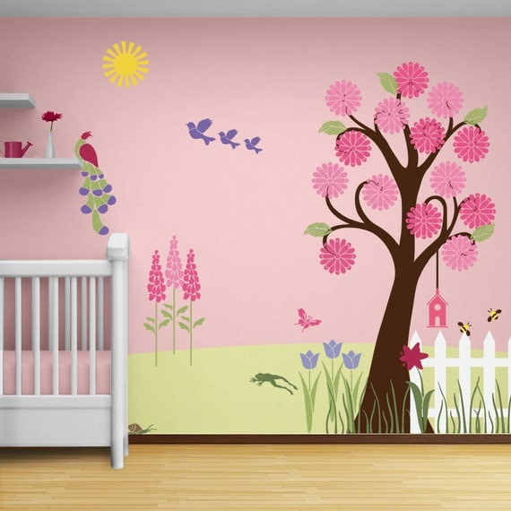 Tree Wall Stencil And Flower Stencils For Baby By