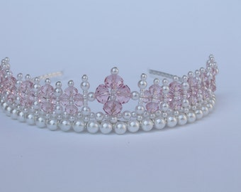 Princess Pink Crystal and Pearl Tiara