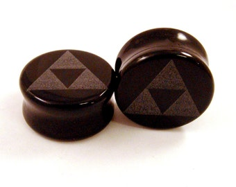 "Tri Force Black Glass Plugs 9/16"" (14mm) 3/4"" (19mm) 7/8"" (22mm) 1"" 25mm 1 1/8"" (28mm) (30mm) 1 1/4"" (32mm) Triforce Ear Gauges"