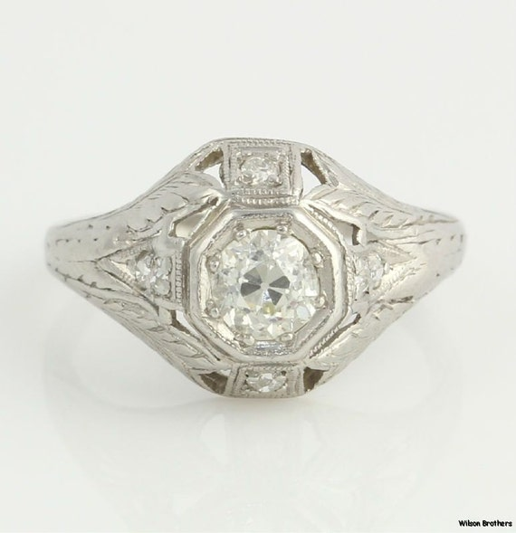 Antique .54ct European Cut Platinum Diamond Engagement Ring S6790 R