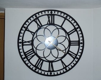 "20"" Clock, Roman Numbers, Metal Wall Art , Black, Metal Art"