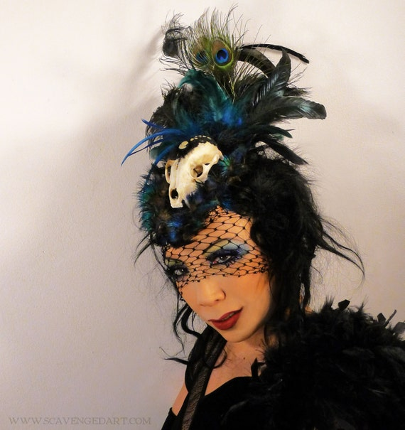 Real Skull Headdress Fascinator Headpiece with Black Blue