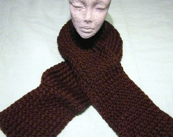 Rich, Thick & Luxurious Brown Knit Scarf - SALE - 25 PERCENT OFF - ac005