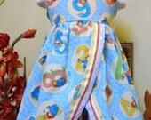 SALE SALE SALE . Paddington Bear . Size 5 . 2 piece Girl's Ruffled Knotted Dress n Shorts . sewn by me