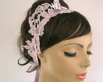 Lilac Bridal Headband Fascinator - Weddings Dress Belt Sash in Venetian Applique Lace: Double Usages. Handmade