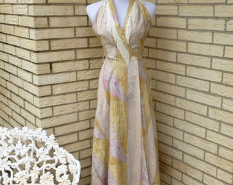 1980s Halter Wrap Dress Country Western Cowgirl Fringe Midi Length Womens Vintage Small