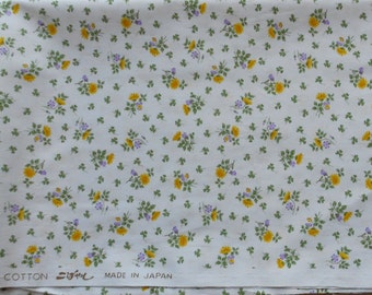SALE: Japanese Light Blue Fabric with Flowers 1 Yard