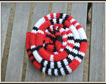 Skinny Scarf in Red Black and White handmade striped scarf