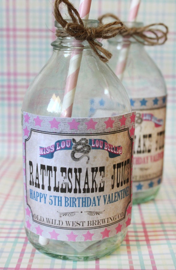 Cowgirl Drink Bottle Labels - INSTANT DOWNLOAD - Editable & Printable Birthday Decorations by Sassaby