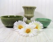 3 Piece Retro Haeger Shades of Spring Pottery Collection - Vintage Textured Trio of Sage Green Ceramics - BoHo Sea Foam Green Bowls Set