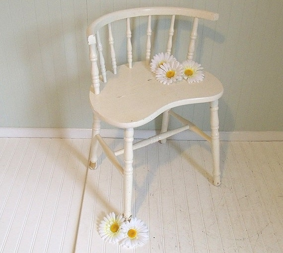 Vintage White Wooden Vanity Chair Retro Kidney Shaped
