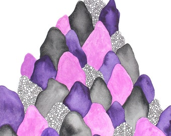 WINGS abstract watercolor art print in purple, mauve and gray
