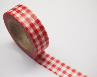 Washi Tape - red check (10M)