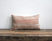 Karnataka lumbar pillow cover hand printed in metallic copper on natural ecru organic hemp
