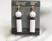 Trifari Lucite Earrings - Black and White - Pierced - Dangle, Drop Style - New on Card