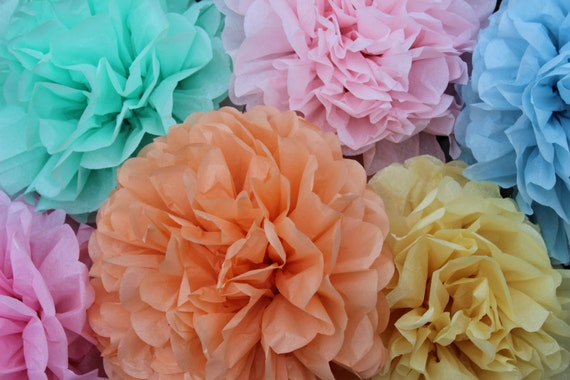 7 tissue paper Pom Poms, baby shower decorations, bridal shower decorations, hanging paper decorations, kids birthday party decorations