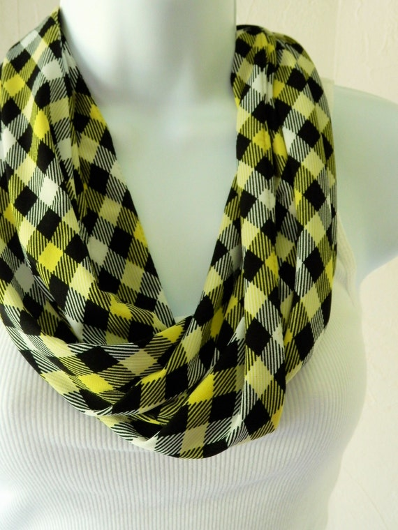 Jersey Knit Infinity Scarf in Yellow, Black and White Check Plaid Handmade Fashion by Thimbledoodle