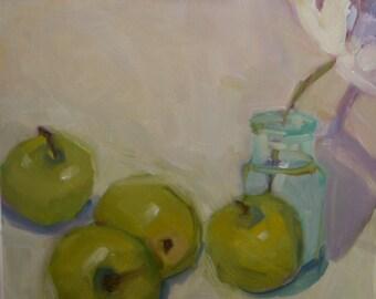 """Oil Still life of """"Apples"""" 8"""" x 8"""" New Original"""