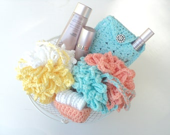 Shower Pouf, Washable-reusable Cosmetic Remover Pads, and Makeup Bag - gift basket idea  - CROCHET PATTERN ONLY--