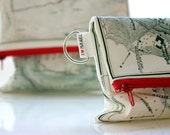 Fold over clutch - women hand bag printed with the map of ancient Israel - Zipper clutch for women