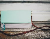 mint green crossbody bag // mint colorblocked with gray with leather straps by rouge and whimsy