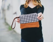 limited quanitites! / graphic black and white wristlet with leather bottom // leather wristlet by rouge and whimsy