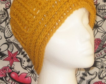 Crochet hat, beanie, skull cap,  in marigold made to fit teens and adults