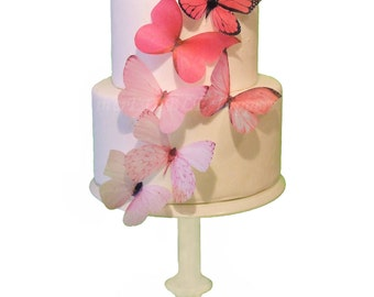 Cake Topper - 6 Pink Ombre Edible Butterflies - Wedding Cake Toppers, Cake Decorations