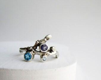 Diamond, Blue Topaz, Iolite, Aquamarine, 4 Stones Silver Twig Ring