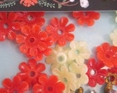Little Vintage  Celluloid Flower Beads Or Bead Caps
