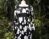 Black and White Op Art 1960s Maxi Dress Olga Hippie Dress