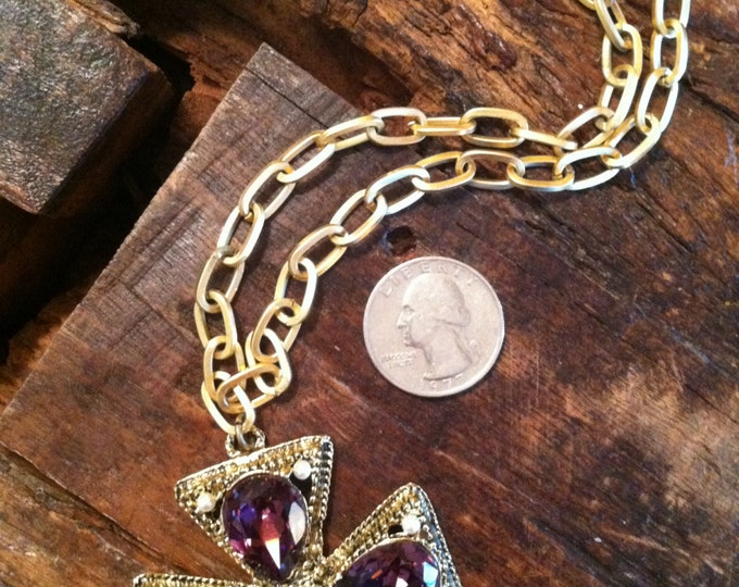 Majestic Maltese Cross..Renaissance Cross..Vintage Gold Necklace with Cross.. Vintage Purple Pendant