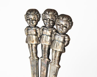 3 Campbell's Kids soup spoons, silver plated,1960s , mid century, retro, sweet and a nice memory of days gone by