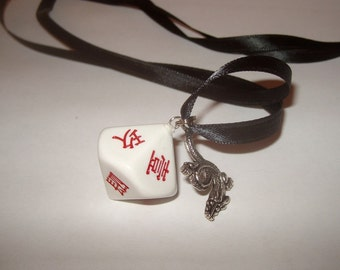 Chinese script gaming dice upcycled pendant dragon charm kanji recycled kitsch kawaii red and white