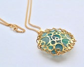 Sale Aqua Blue Genuine Sea Glass Gold Bubbles Pendant with Gold Filled Chain Necklace 20 inch
