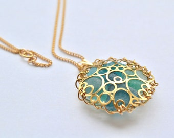 Teal Aqua Blue Genuine Sea Glass Gold Bubbles Pendant with Gold Filled Chain Necklace 20 inch