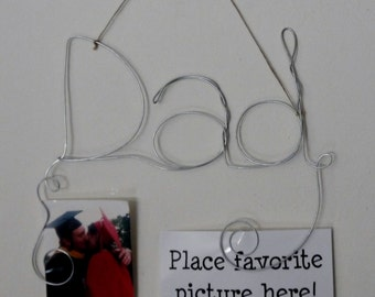 Fathers Day Gift Hanging Dad Wire Word Photo Holder Picture Frame with Plain, Classy, Wire Wall Art, Dad Gift Frame