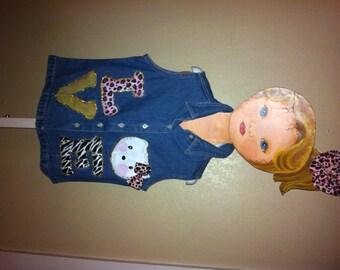Size 8, hand painted, Hello Kitty denim shirt
