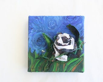 3D One of a Kind Mixed Media Acrylic Painting Beaded Fabric Flower Midnight Rose - 6 x 6