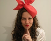 Couture red parasisal fascinator with bow