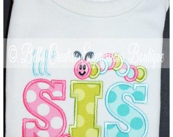 Big Sis or Lil Sis Caterpillar Appliqued Bodysuit or Shirt
