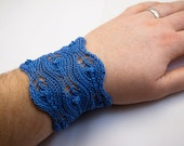 Mist Drops - Wide Knitted Lace Cuff - Blue Water Lace Bracelet