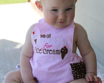 We all Scream for Ice Cream Baby Ruffle Bubble Romper
