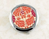 Ladies' Compact Mirror, Pocket Mirror, Art Nouveau Orange and Red Purse Mirror, Thank You Gift, Bridesmaid's Favor