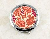 Ladies' Compact Mirror, Pocket Mirror, Art Nouveau Orange and Red Purse Mirror, Thank You Gift, Bridesmaid's Favor